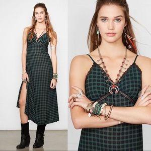 {RL Denim & Supply} Plaid Maxi Slit Slip Dress